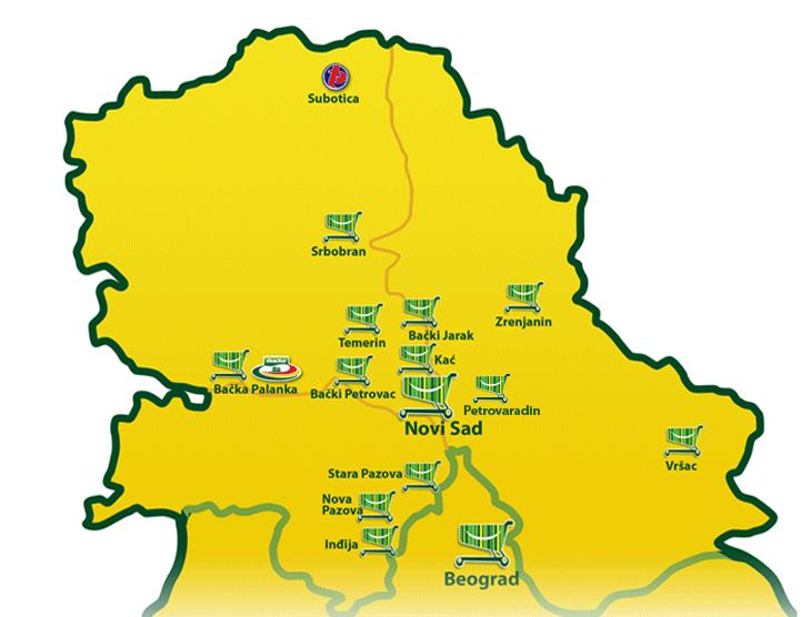 mapa srbije srbobran Univerexport supermarketi u Srbiji   Retail Serbia mapa srbije srbobran